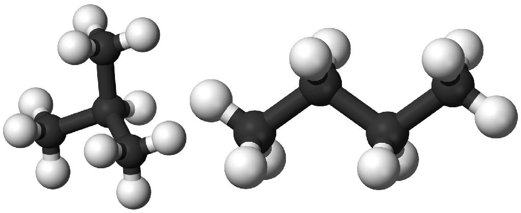 Молекулы бутана и изобутана