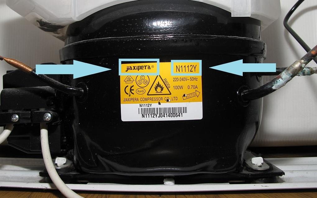 Название и модель компрессора на шильдике компрессора