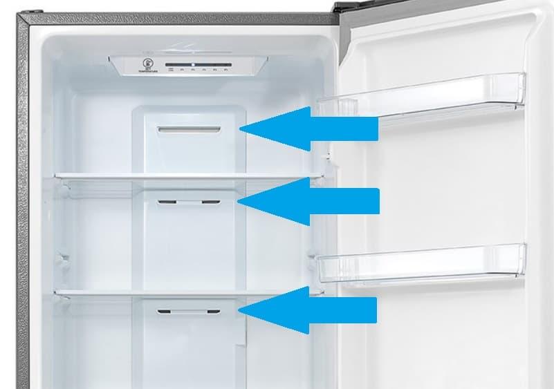 Приточные отверстия в холодильнике No Frost